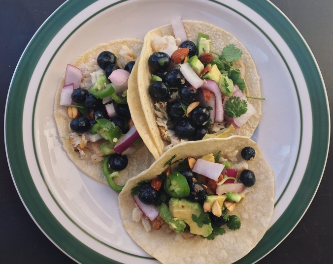 Fish Tacos with Blueberry Almond Salsa from Gimme Some Oven