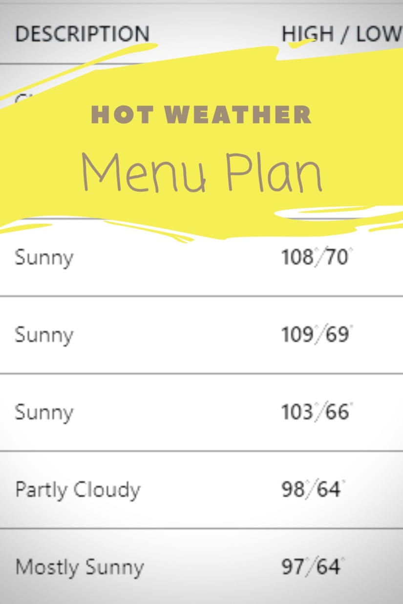 Hot Weather Menu Plan